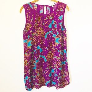 CABI Sleeveless Floral Multi Color Top Size Medium for sale